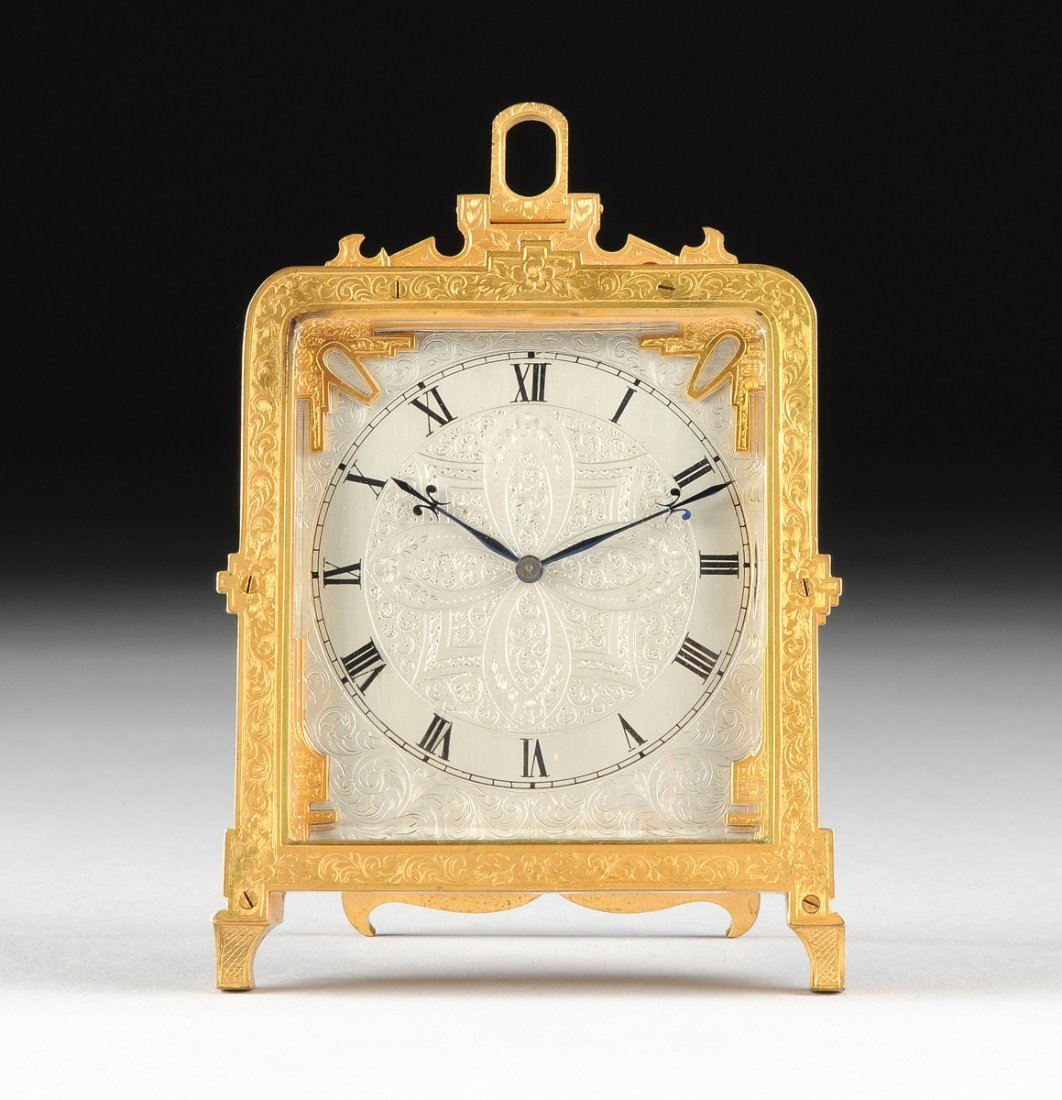A SWISS GILT AND SILVERED ENGRAVED BRASS STRUT CLOCK,