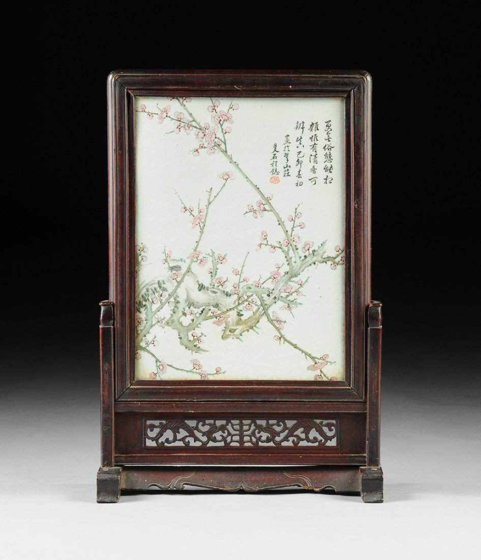 A VINTAGE CHINESE FAMILLE ROSE PORCELAIN PLAQUE MOUNTED