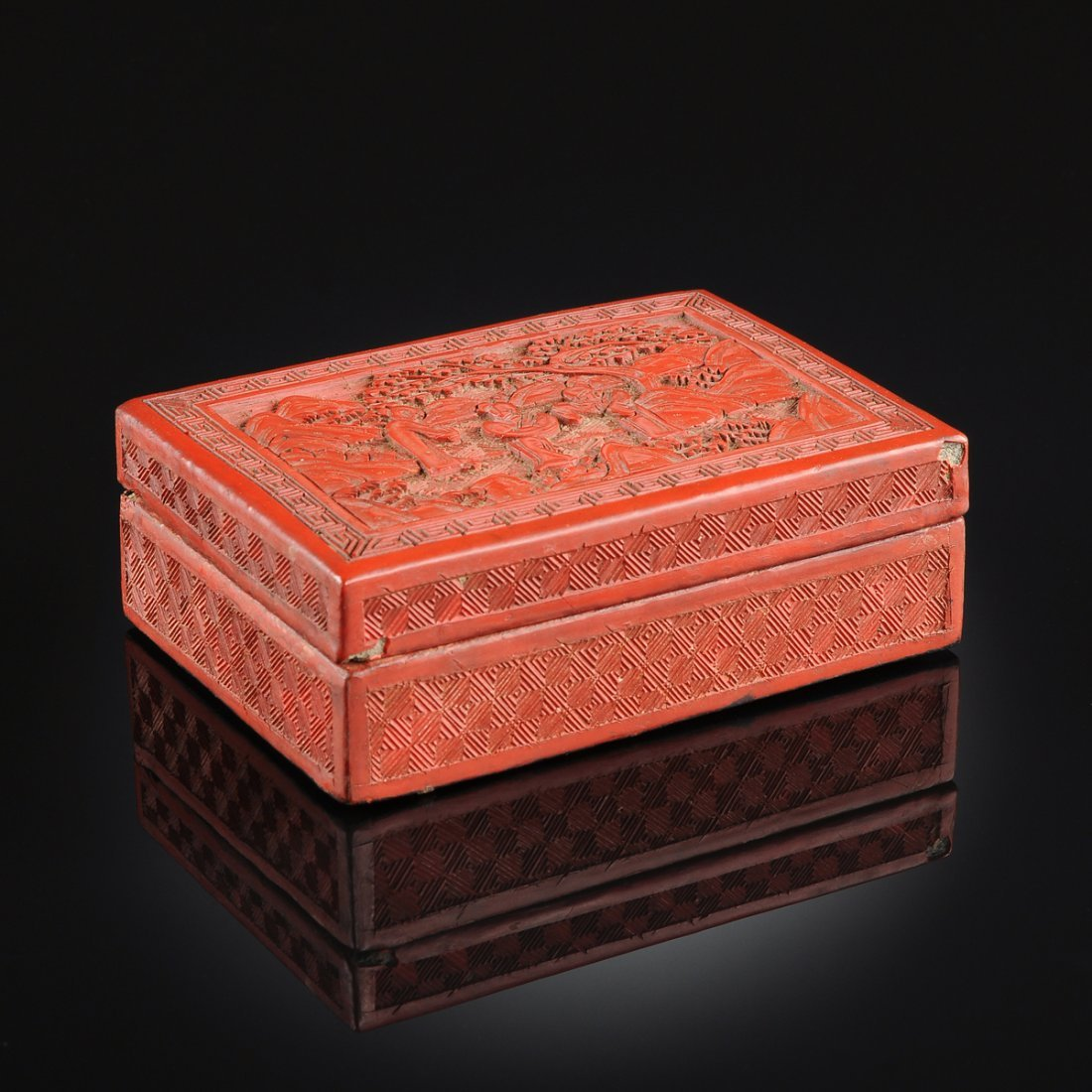A CHINESE CINNABAR SQUARE LACQUER BOX AND COVER, 19TH
