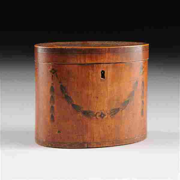 A GEORGE III MARQUETRY INLAID SATINWOOD TEA CADDY, LATE