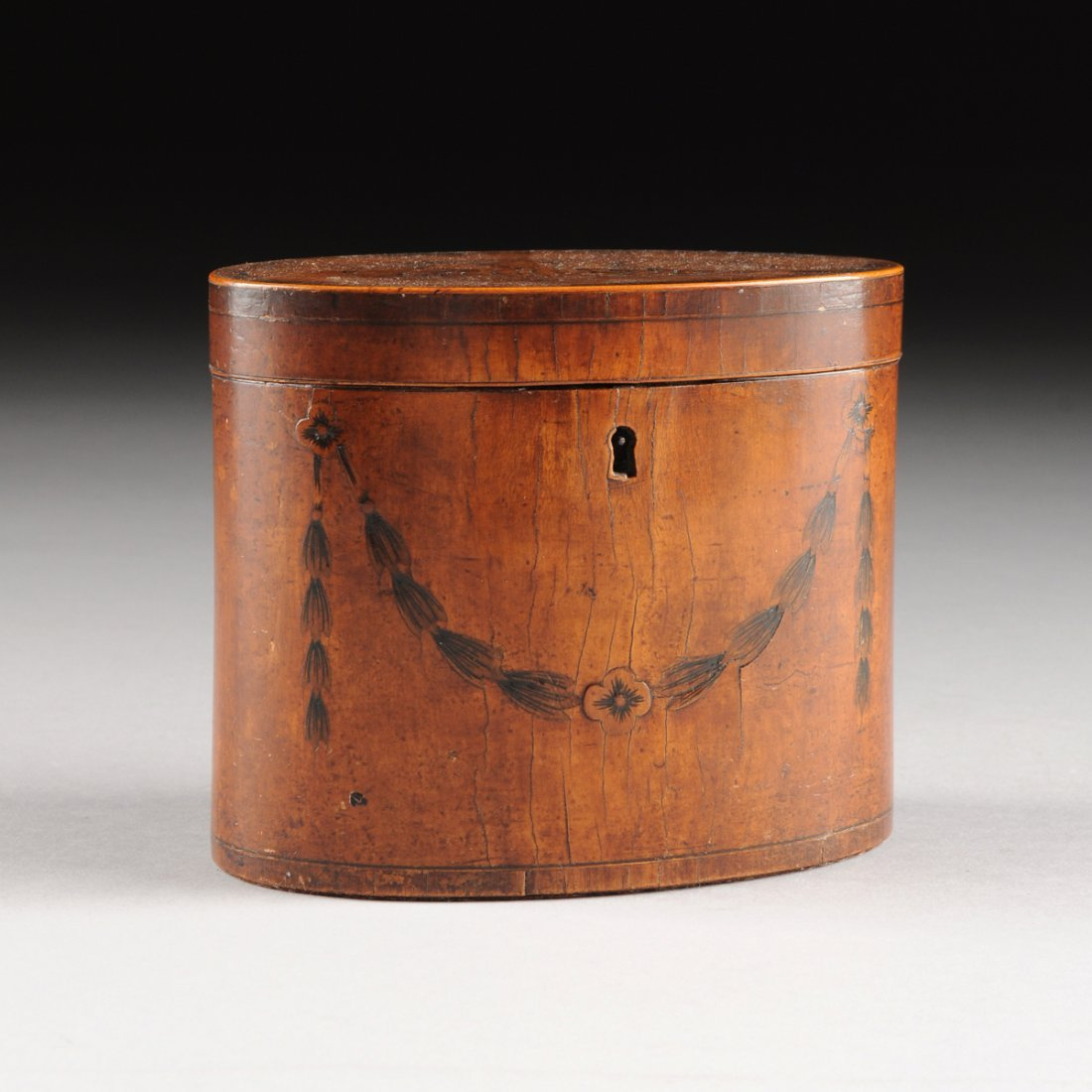 A GEORGE III MARQUETRY INLAID SATINWOOD TEA CADDY, LATE