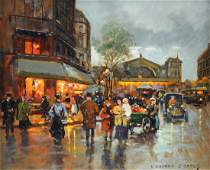 EDOUARD CORTES French 18821969 A PAINTING Gare de
