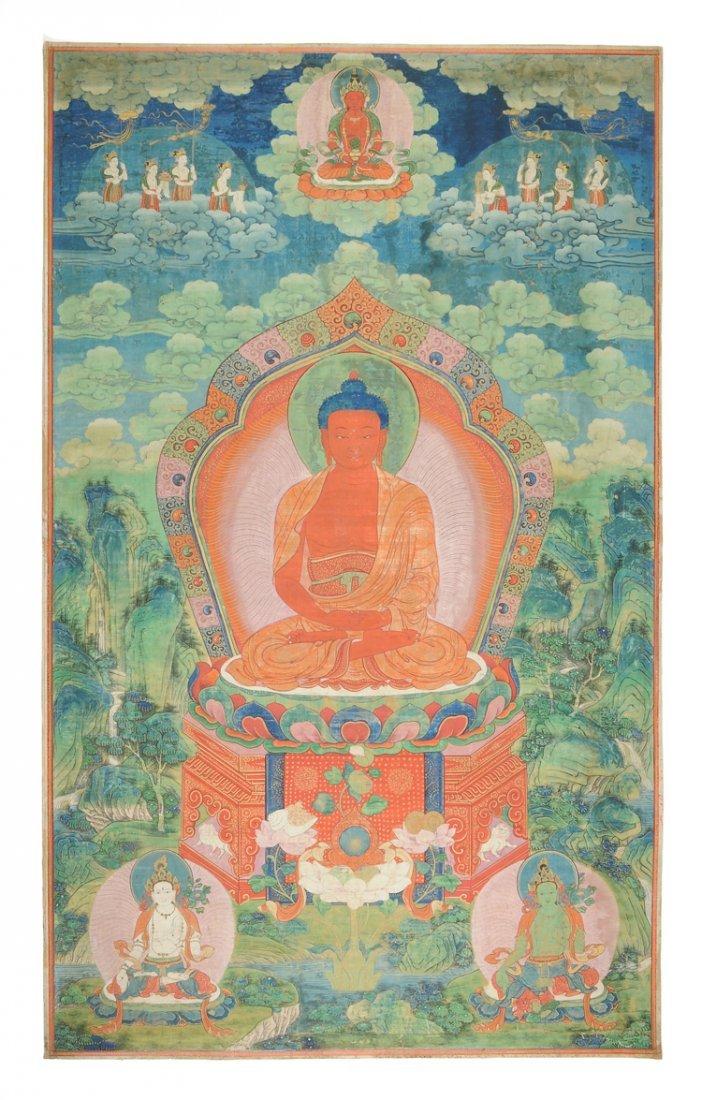 A FRAMED TIBETAN THANGKA OF AMITABHA BUDDHA, LATE