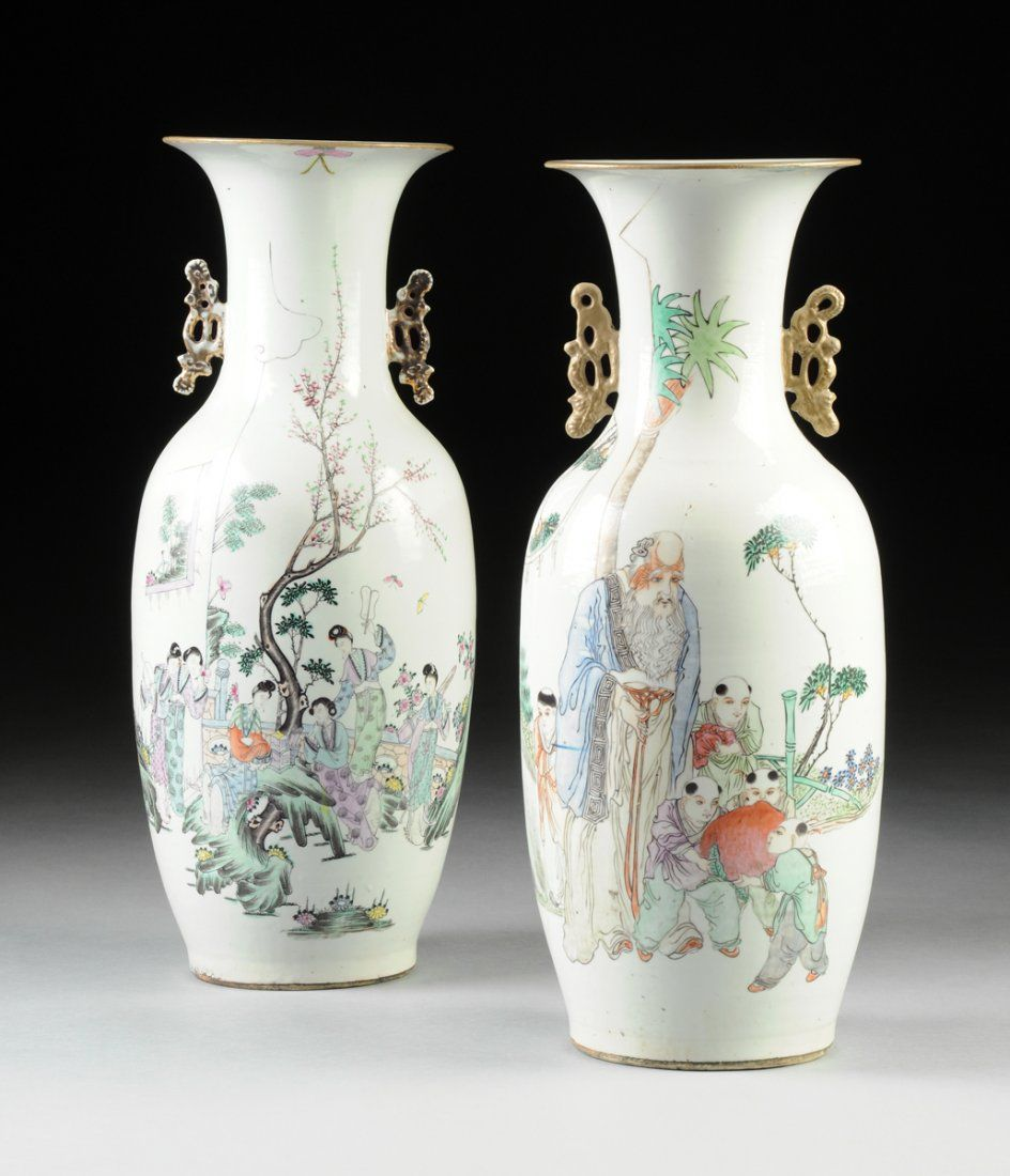 TWO VINTAGE CHINESE FAMILLE ROSE POLYCHROME ENAMELED