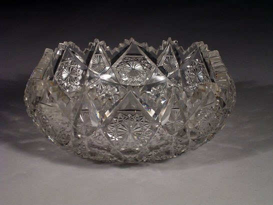 6: An antique cut crystal fruit bowl of square form, th
