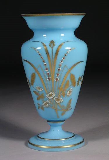 8: An antique Bristol vase of baluster form with flared