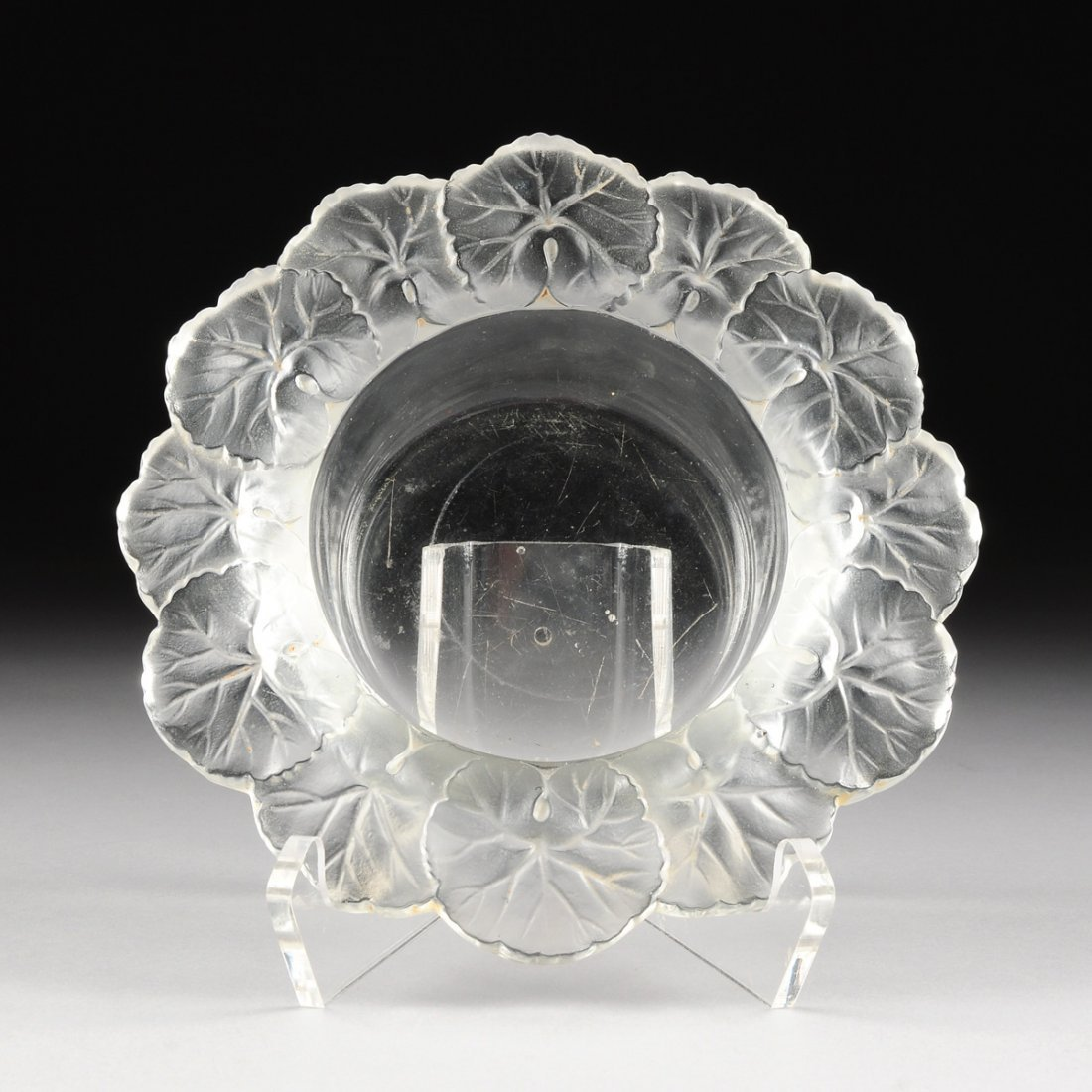 """A LALIQUE CLEAR AND FROSTED CRYSTAL """"HONFLEUR"""" BOWL,"""