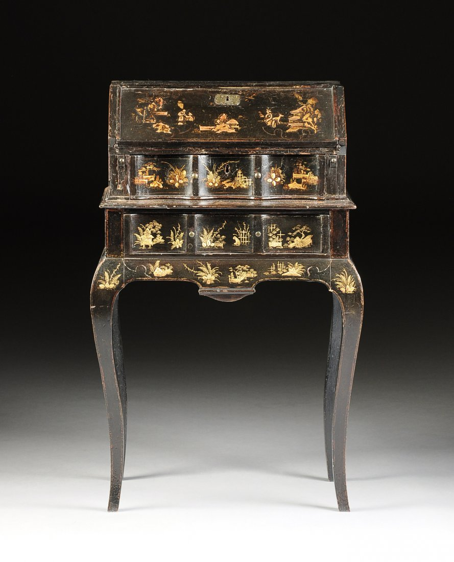 A FRENCH LOUIS XV STYLE PETITE BLACK JAPANNED AND GILT