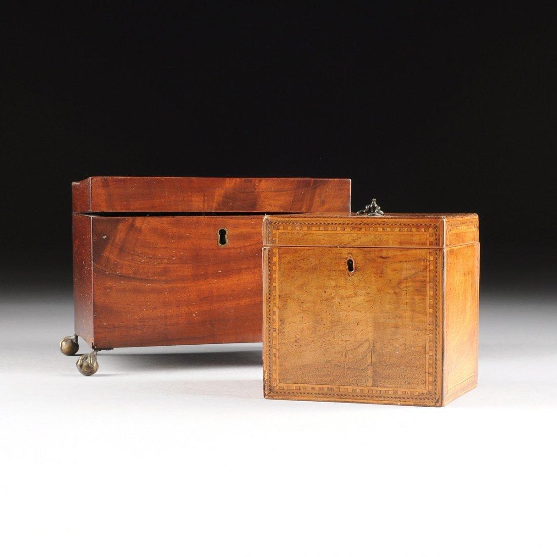 TWO LATE GEORGE III TEA CADDIES, CIRCA 1800,