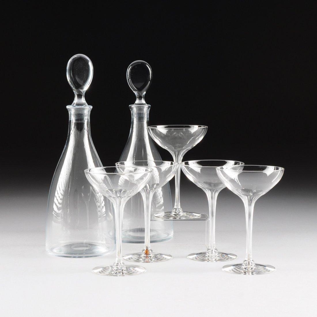 TWO SWEDISH ART GLASS DECANTERS, BY STROMBERGSHYTTAN,