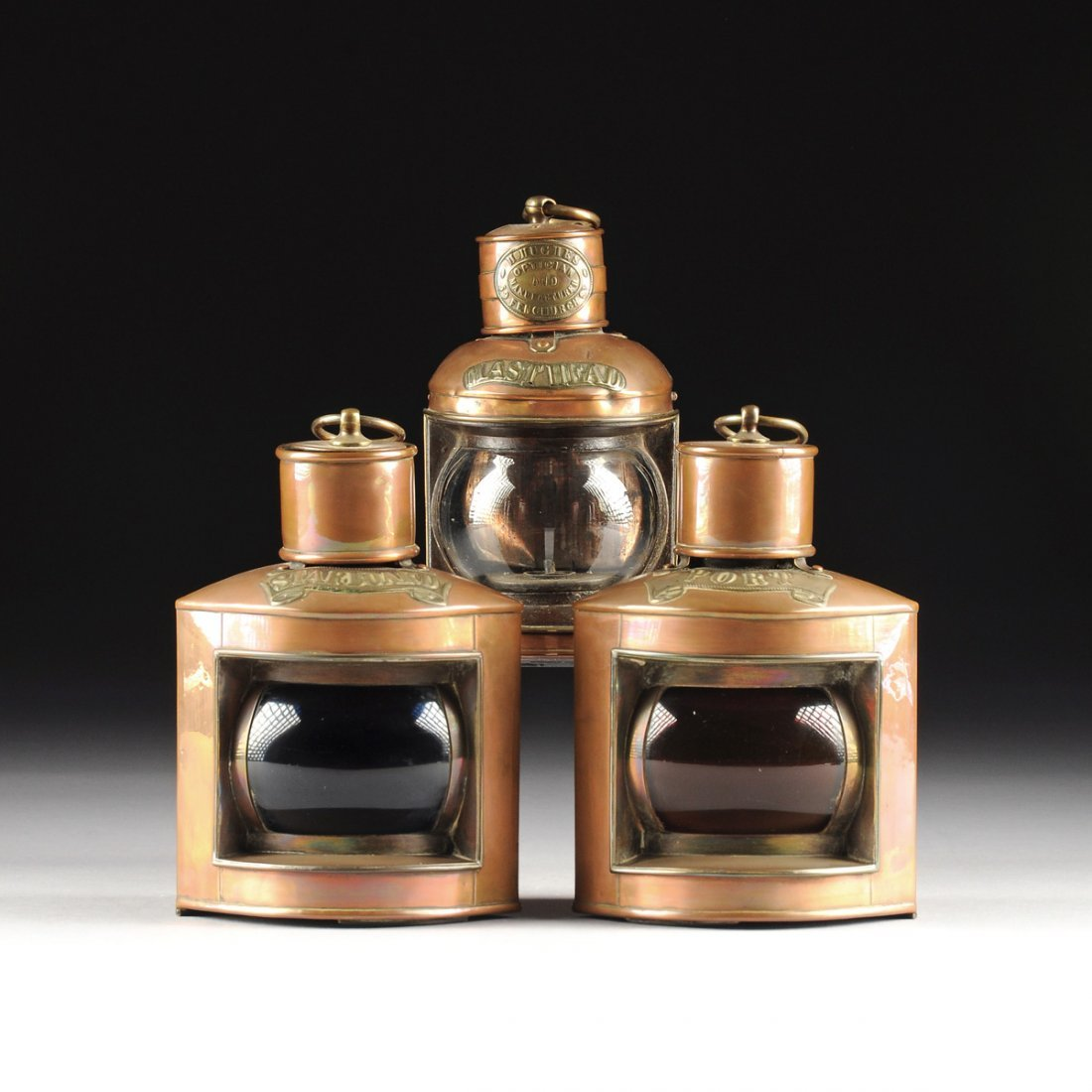 A GROUP OF THREE VICTORIAN BRASS MOUNTED COPPER SHIP