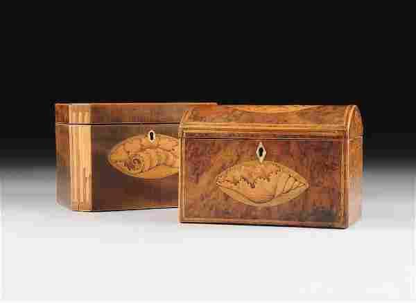 TWO GEORGE III SATINWOOD MARQUETRY INLAID TEA CADDIES,
