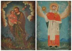 TWO SPANISH COLONIAL POLYCHROME RETABLOS ON COPPER