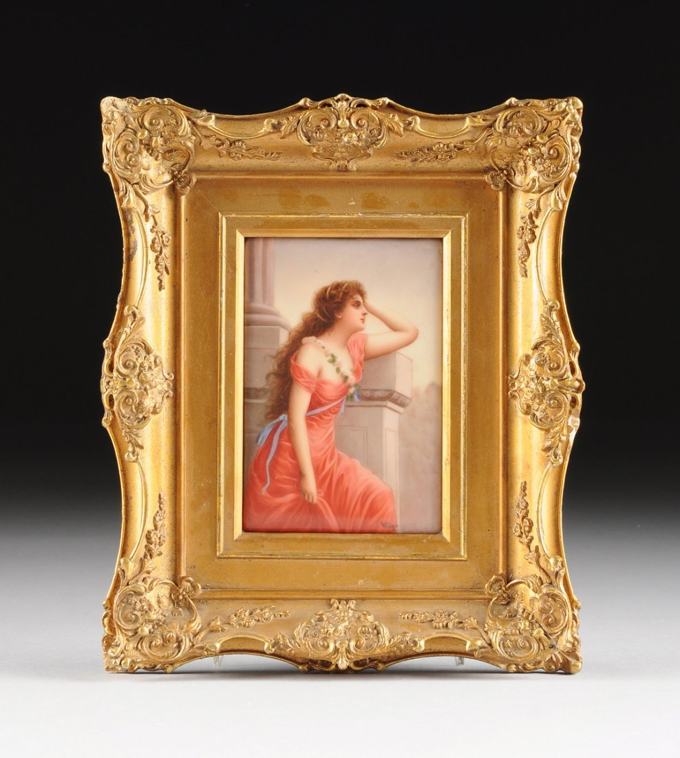 A GERMAN HANDPAINTED PORCELAIN PLAQUE OF A MAIDEN