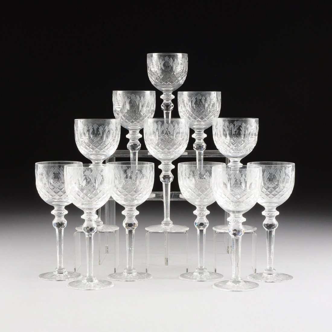 A SET OF TWELVE ROGASKA CLEAR CUT AND FROSTED LEAD