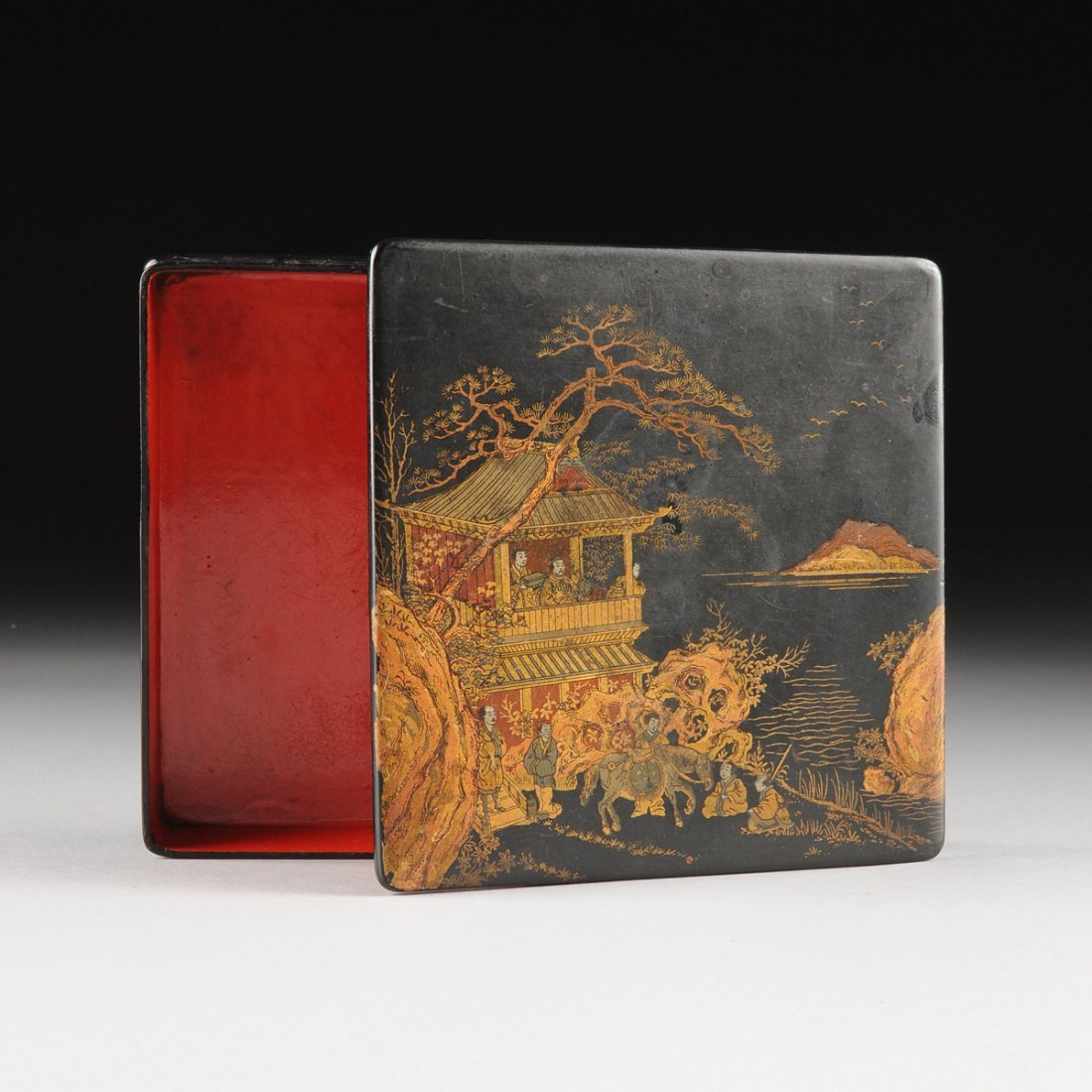 A JAPANESE LACQUER SUZURIBAKO WRITING BOX, MEIJI PERIOD