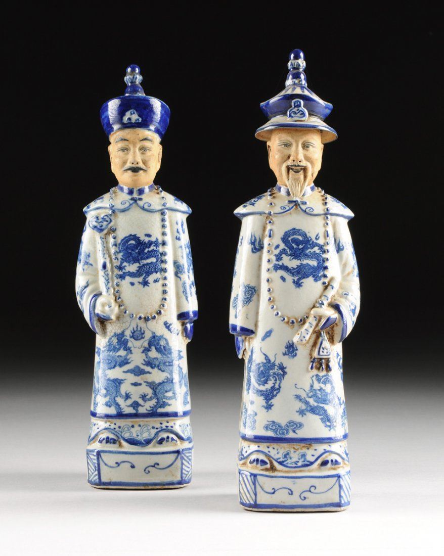 PAIR OF CHINESE BLUE AND WHITE FIGURES OF EMPERORS,