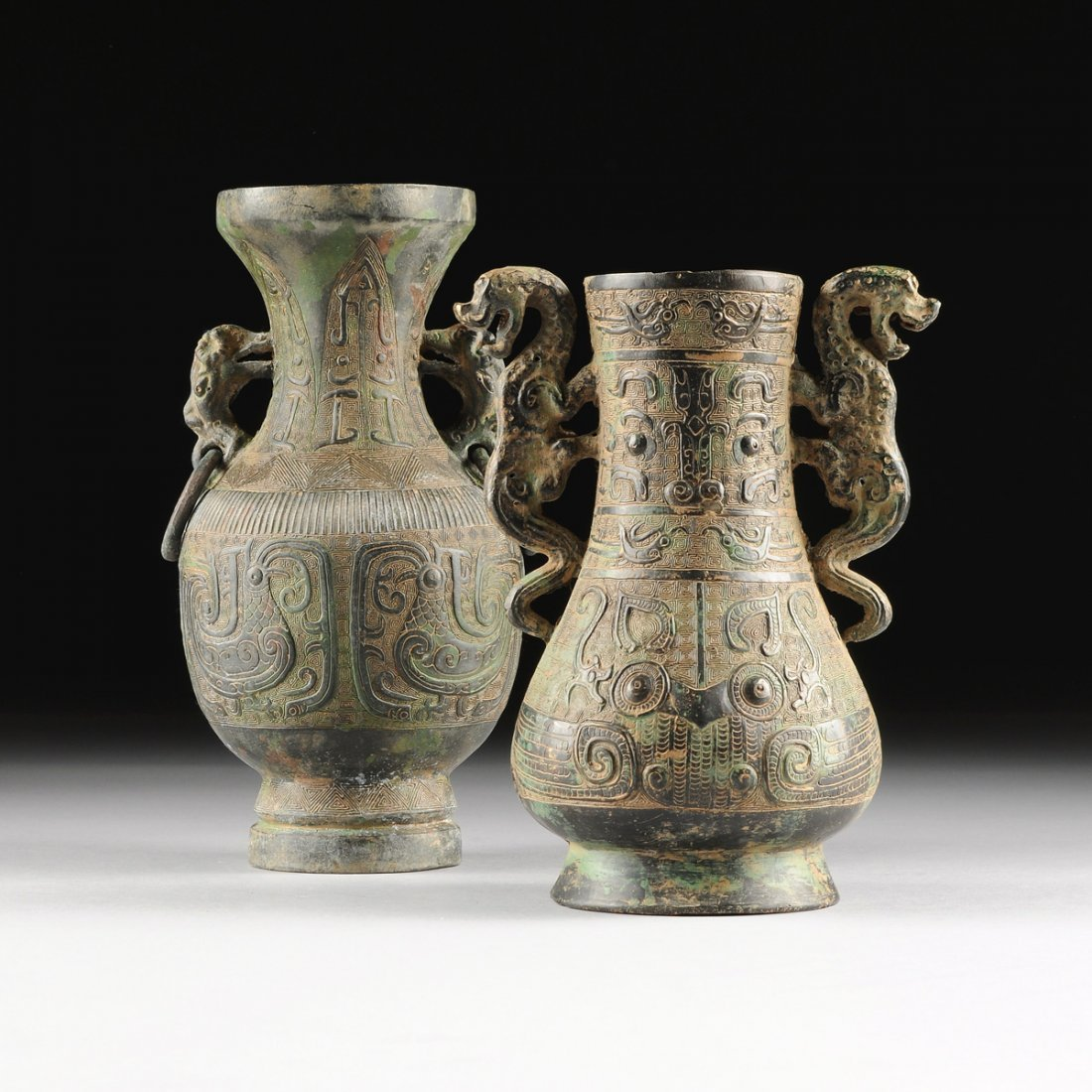 TWO CHINESE ARCHAISTIC STYLE BRONZE VASES,