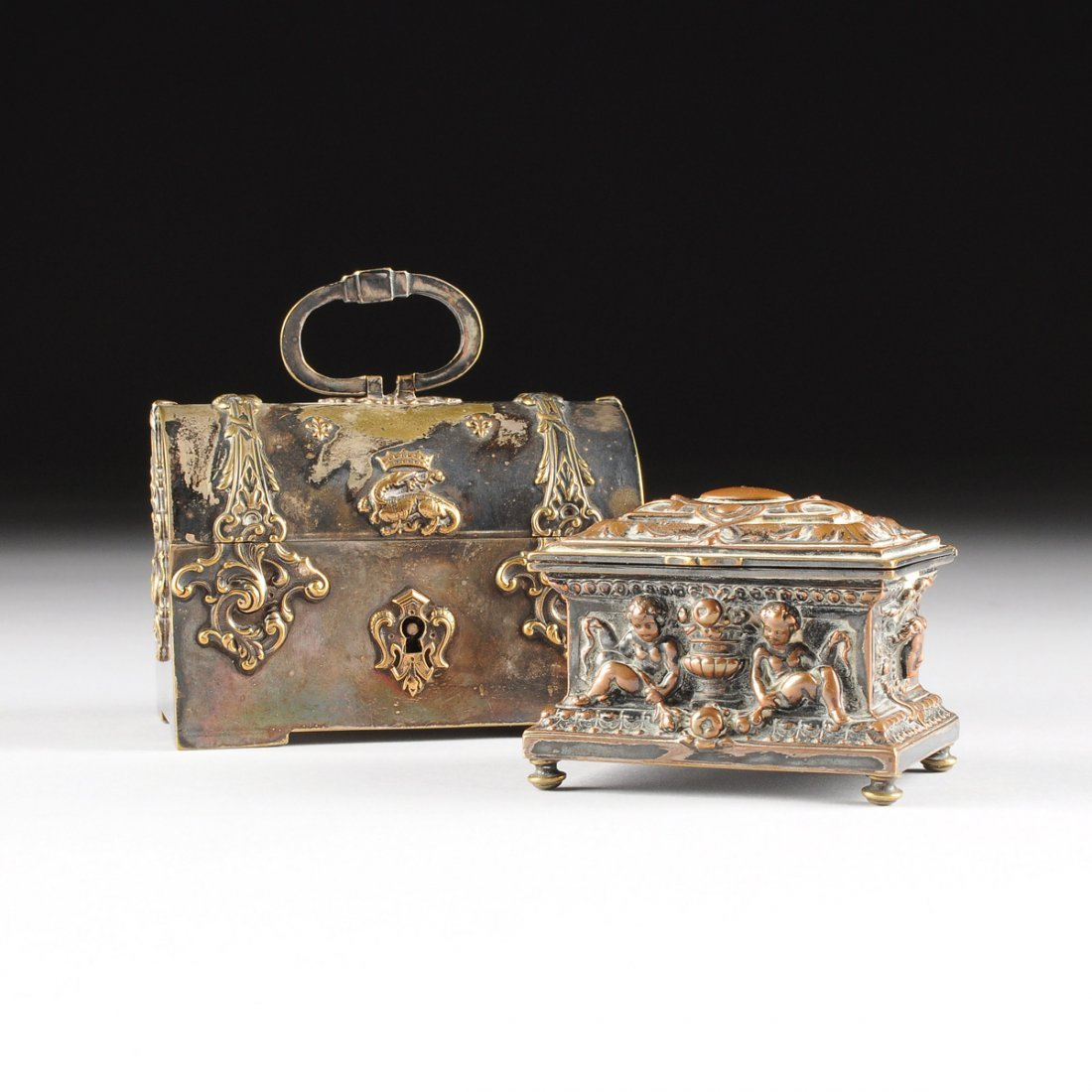 TWO ANTIQUE FRENCH SILVER PLATED KEEPSAKE BOXES, ONE BY
