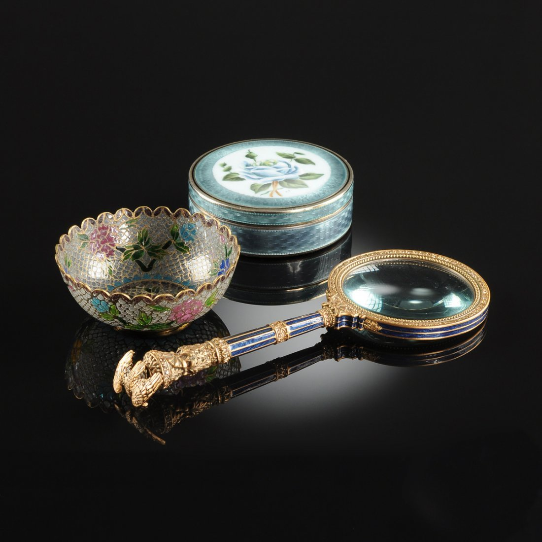 A GROUP OF THREE FINE ENAMELED LADY'S VANITY