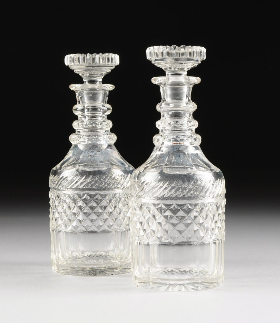 "A PAIR OF GEORGIAN CUT GLASS MAGNUM ""NELSON"" DECANTERS,"