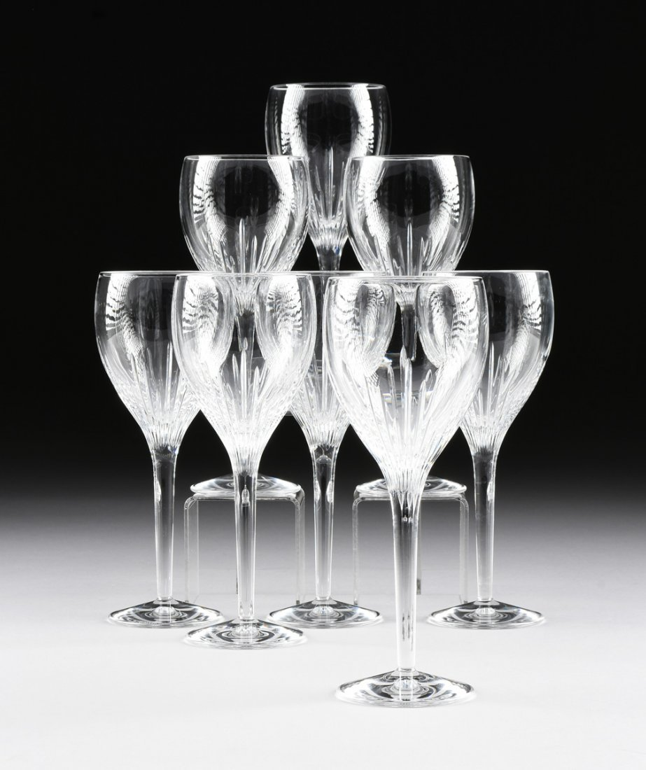 A SET OF EIGHT WATERFORD WHITE WINE CUT CRYSTAL