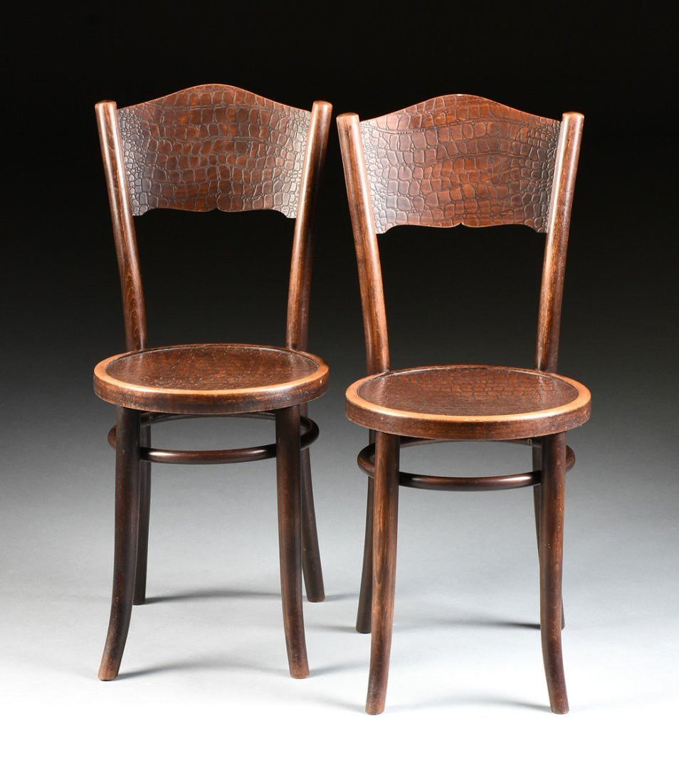 A SET OF FOUR THONET CAFE CHAIRS, POLISH, NUMBERED