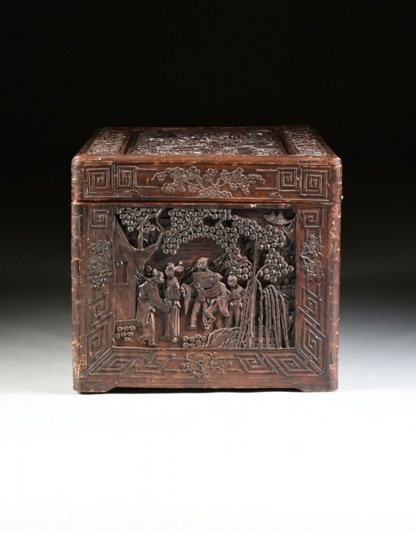 A VINTAGE CHINESE ELABORATELY CARVED WOOD TRUNK, - 10