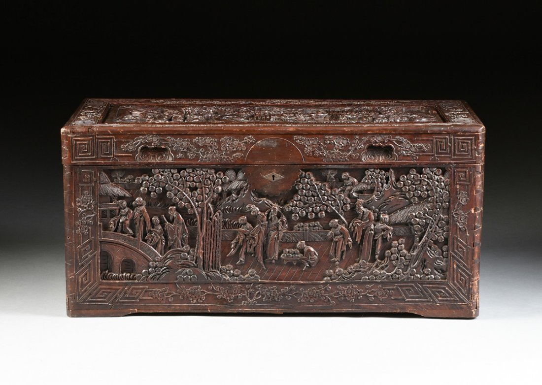 A VINTAGE CHINESE ELABORATELY CARVED WOOD TRUNK,