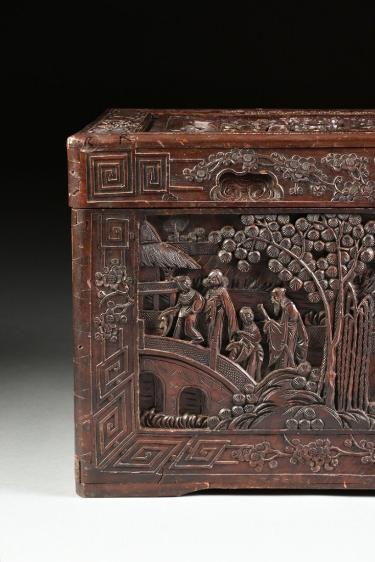 A VINTAGE CHINESE ELABORATELY CARVED WOOD TRUNK, - 2