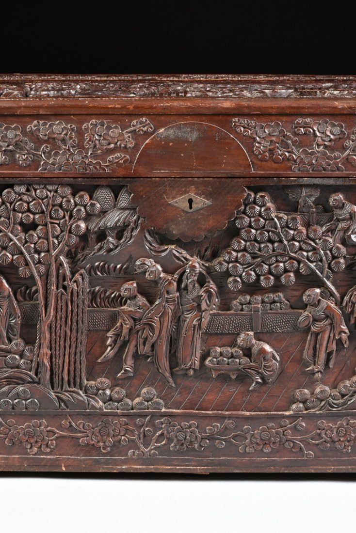 A VINTAGE CHINESE ELABORATELY CARVED WOOD TRUNK, - 3