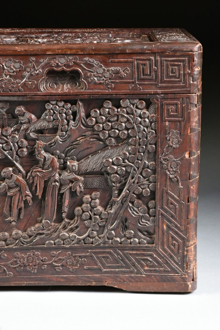 A VINTAGE CHINESE ELABORATELY CARVED WOOD TRUNK, - 4