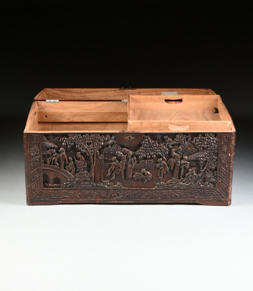 A VINTAGE CHINESE ELABORATELY CARVED WOOD TRUNK, - 5