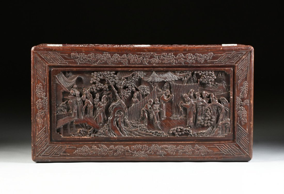 A VINTAGE CHINESE ELABORATELY CARVED WOOD TRUNK, - 6