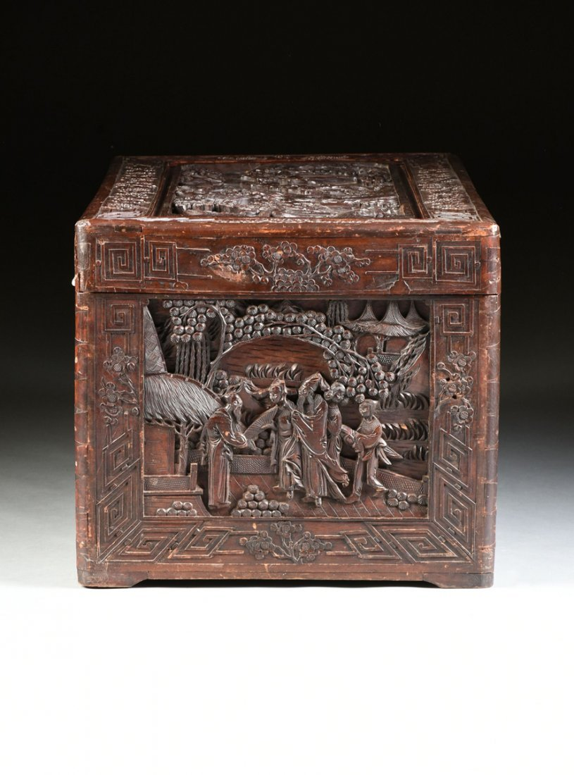 A VINTAGE CHINESE ELABORATELY CARVED WOOD TRUNK, - 7