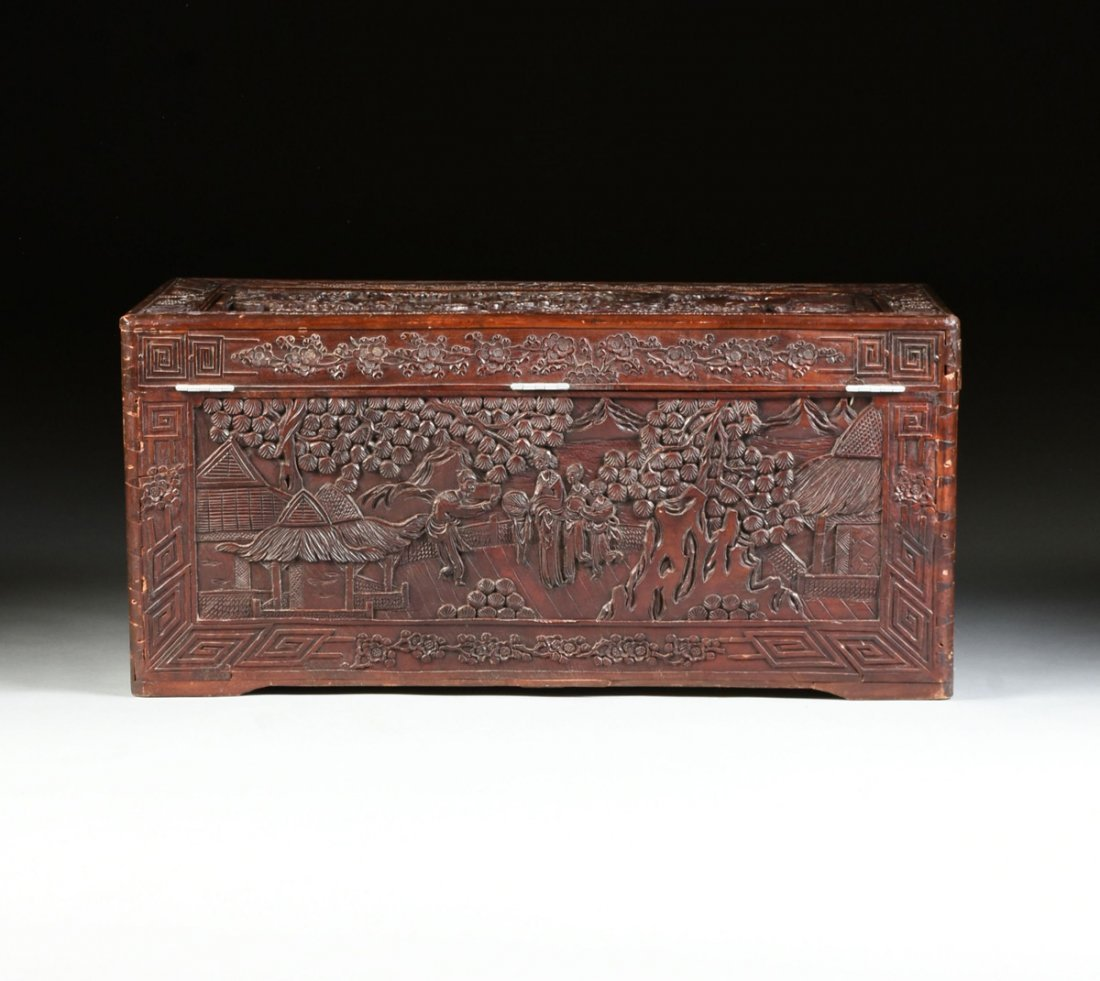 A VINTAGE CHINESE ELABORATELY CARVED WOOD TRUNK, - 8