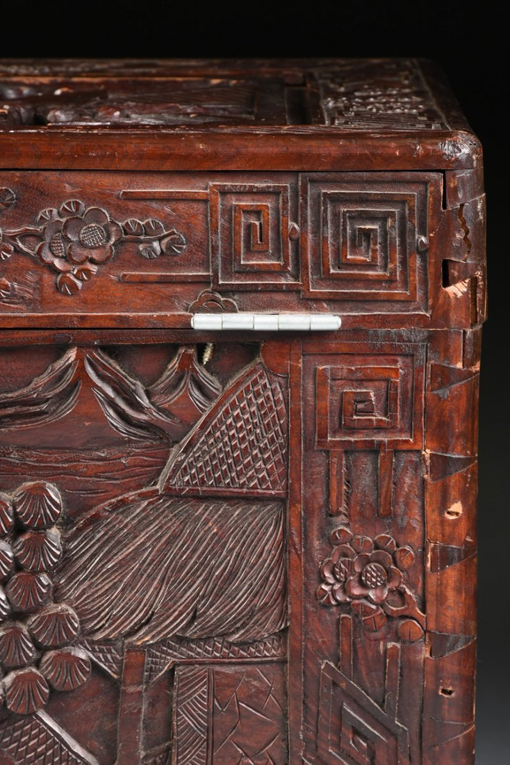 A VINTAGE CHINESE ELABORATELY CARVED WOOD TRUNK, - 9