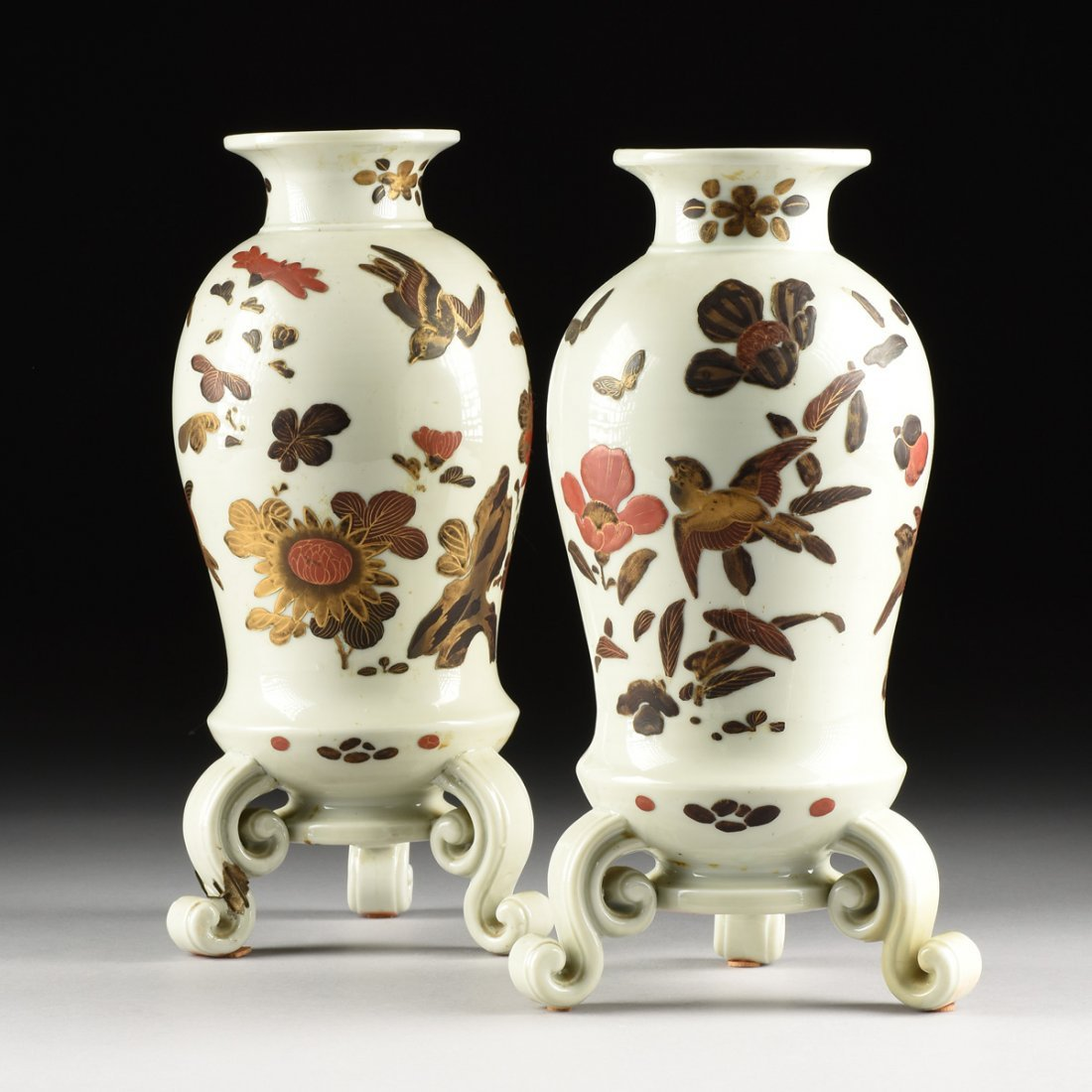 A PAIR OF UNUSUAL CHINESE PARCEL GILT AND POLYCHROME