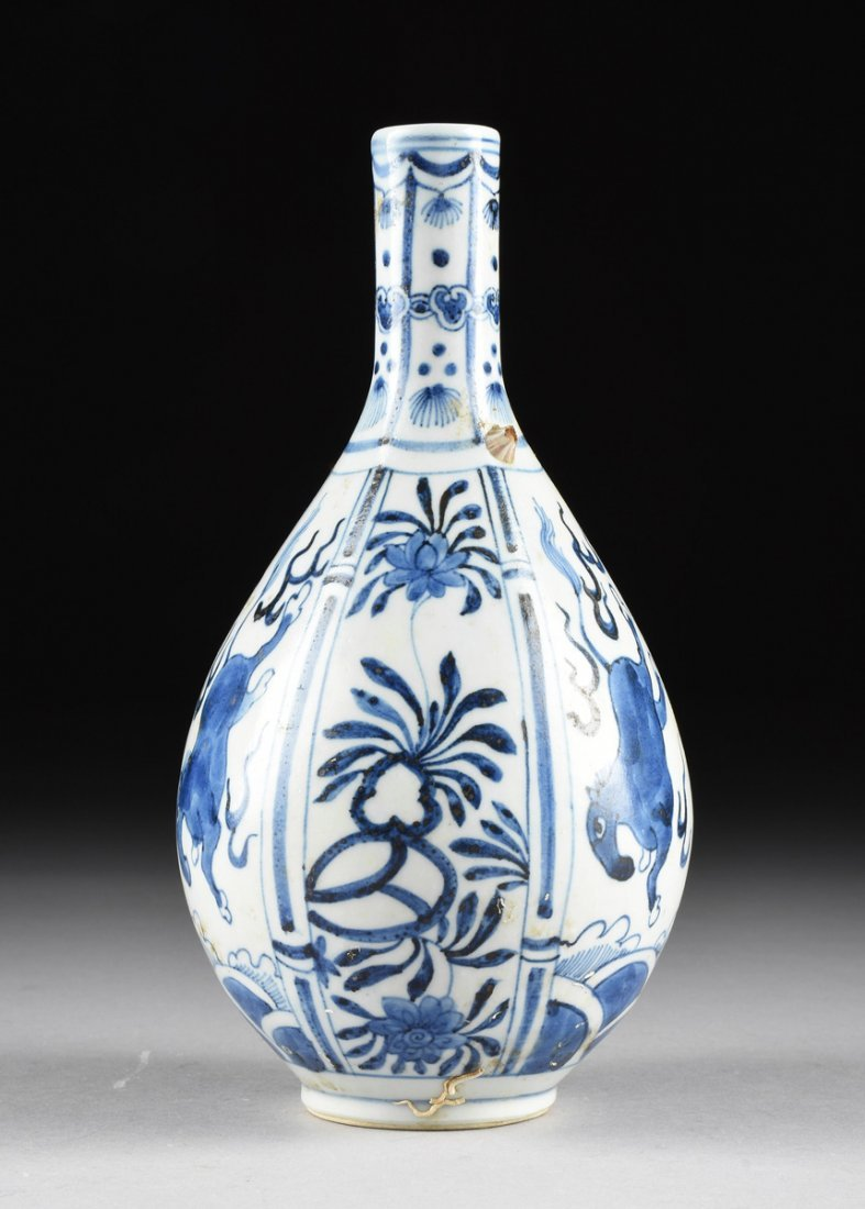 A CHINESE BLUE AND WHITE PORCELAIN PEAR FORM BOTTLE - 4