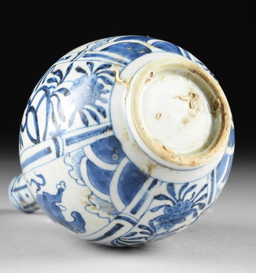 A CHINESE BLUE AND WHITE PORCELAIN PEAR FORM BOTTLE - 6