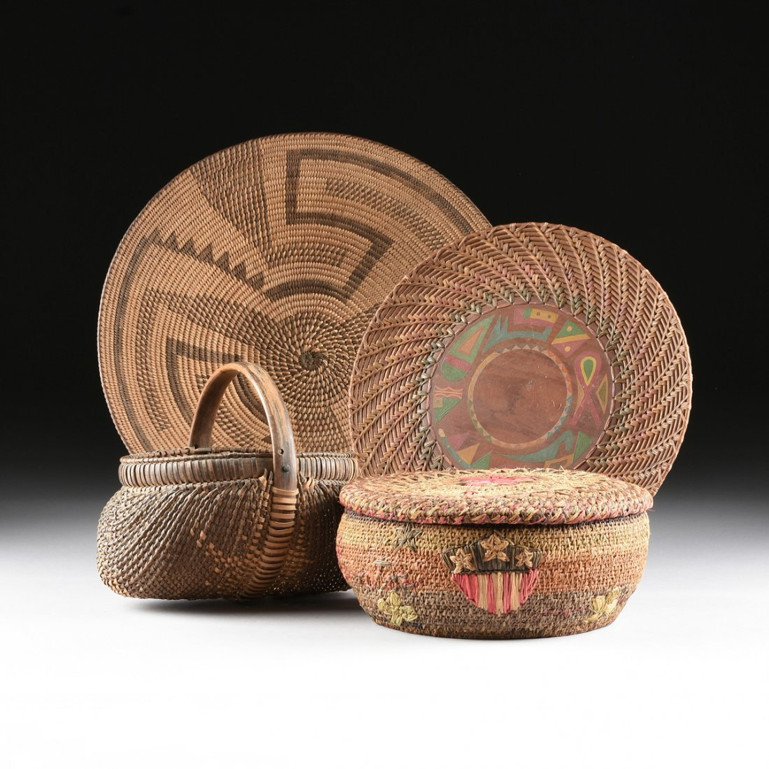 A GROUP OF FOUR VARIOUS NATIVE AMERICAN WOVEN BASKETRY