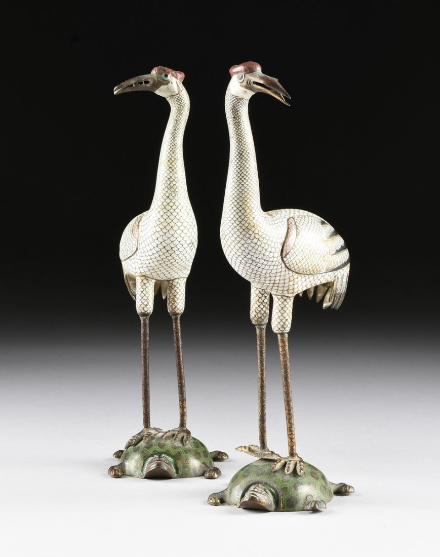 A PAIR OF CHINESE POLYCHROME ENAMELED CLOISONNÉ CRANES, - 2