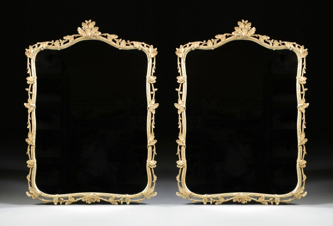 A PAIR OF LARGE GEORGE III STYLE PARCEL GILT AND SILVER