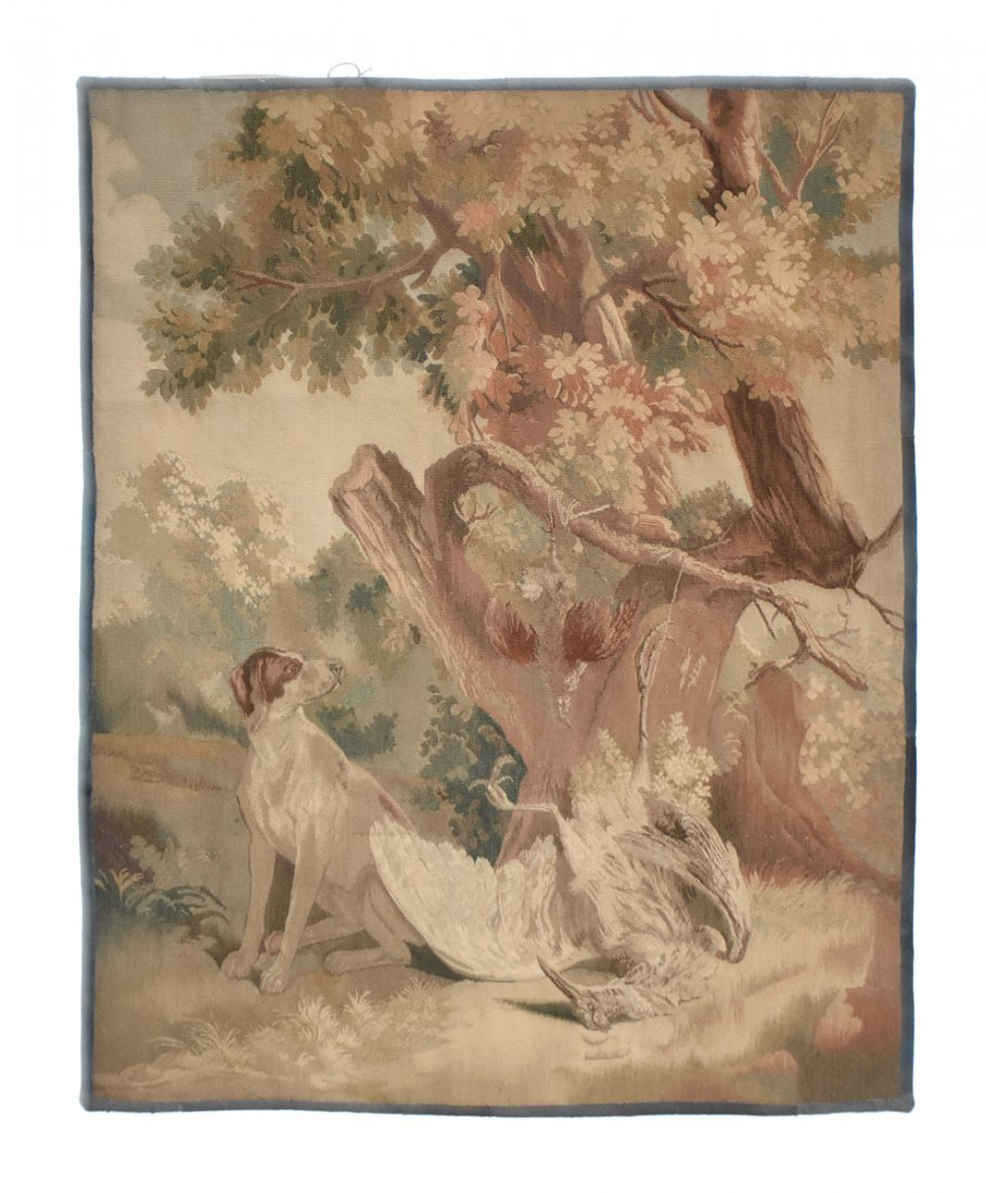"""A CONTINENTAL """"HUNT"""" SUBJECT WOVEN WOOL TAPESTRY,"""
