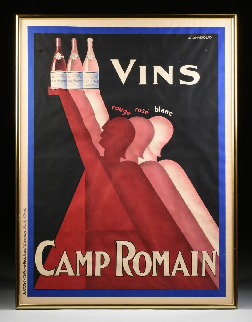 "CLAUDE GADOUD (French 1905-1991) A POSTER, ""Vins Camp"