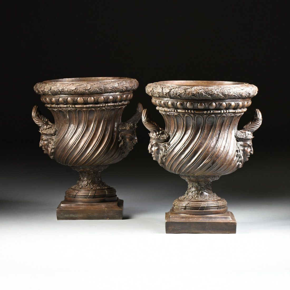 A PAIR OF LARGE NEOCLASSICAL STYLE PATINATED BRONZE