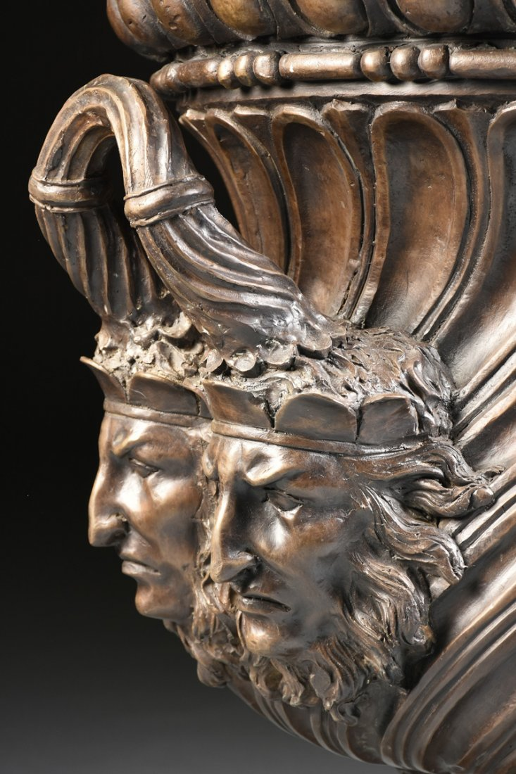 A PAIR OF LARGE NEOCLASSICAL STYLE PATINATED BRONZE - 3