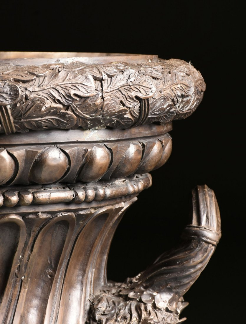 A PAIR OF LARGE NEOCLASSICAL STYLE PATINATED BRONZE - 5