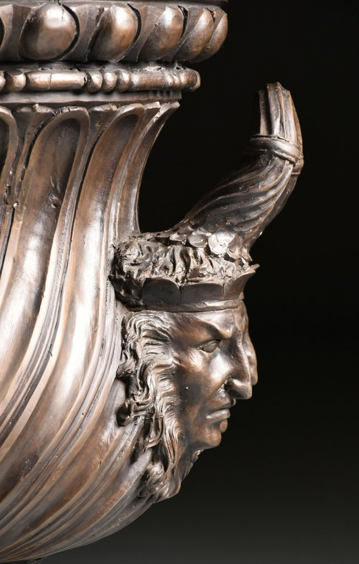 A PAIR OF LARGE NEOCLASSICAL STYLE PATINATED BRONZE - 6