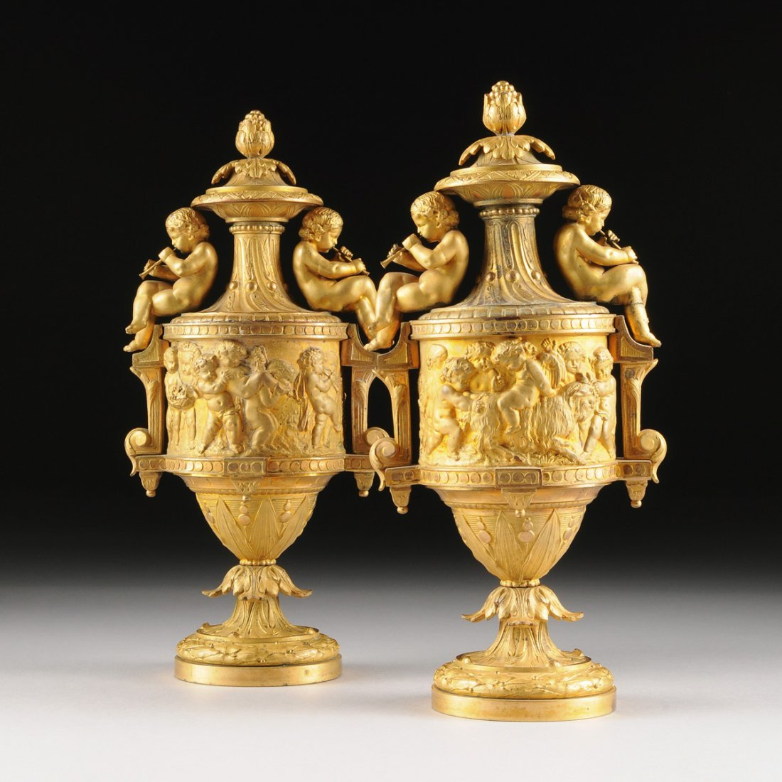 A PAIR OF LOUIS XVI STYLE BURNISHED AND MATT GILT